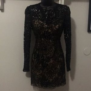 Sherri Hill Black Sheer Sequined Dress Prom